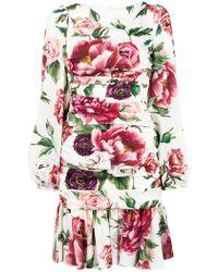 Dolce & Gabbana - Charmeuse Printed Dress - Lyst