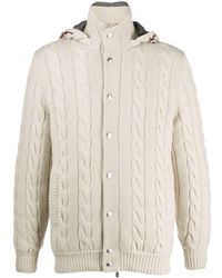 Brunello Cucinelli Hooded Cable Knit Jumper - Natural
