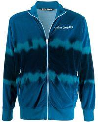 Palm Angels Tie-dye Print Velour Track Jacket - Blue