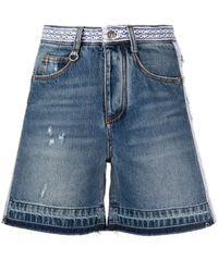 Ermanno Scervino Distressed Embroidered Denim Shorts - Blue
