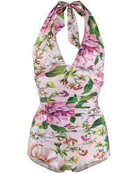 Dolce & Gabbana Floral Print Swimsuit - Pink