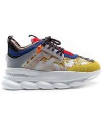 Versace White Barocco Chain Reaction Sneakers - Multicolor