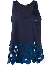 Prada Circular Appliqués Sleeveless Top - Blue
