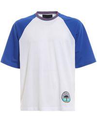 Prada - White And Blue Graphic T-shirt - Lyst
