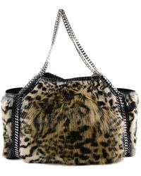 23a8a50b7fb8 Stella McCartney - Snow Cat Fur Free Falabella Small Tote Bag In Leopard  Print Synthetic Material