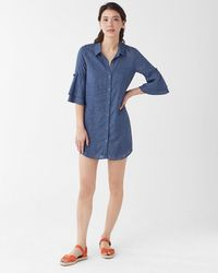 Splendid - Chambray Ruffle Sleeve Shirtdress - Lyst