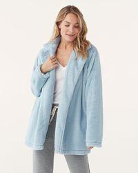 Splendid Faux Fur Pj Robe - Blue