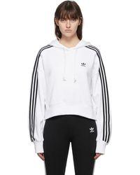 adidas Originals - ホワイト Adicolor クロップド フーディ - Lyst