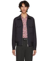 PS by Paul Smith - Blue And Black Check Bomber Jacket - Lyst