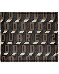 DSquared² ブラック モノグラム バイフォールド ウォレット