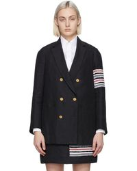 Thom Browne Navy Sack 4-bar Double-breasted Blazer - Blue