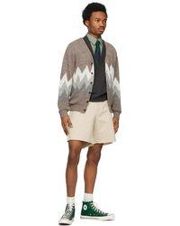 Beams Plus Off-white Twill Cut-off Shorts - Multicolour