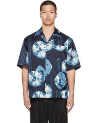 Nicholas Daley Chemise à motif shibori teint - Bleu