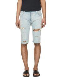 Balmain - Blue Distressed Denim Shorts - Lyst