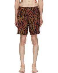 Palm Angels Maillot de bain brun et noir Tiger - Marron