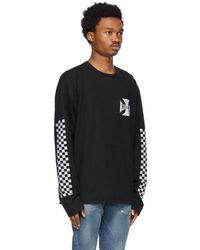 Rhude T-shirt à manches longues noir Classic Checkers