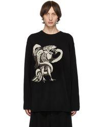 Yohji Yamamoto ブラック イーグル スネーク クルーネック セーター