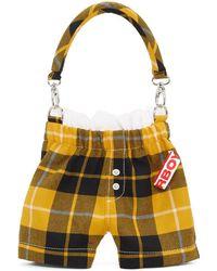 Charles Jeffrey LOVERBOY Ssense Exclusive Yellow And Black Tartan Panties Bag