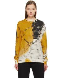 1017 ALYX 9SM Beige & Orange Dyed Address Logo Long Sleeve T-shirt
