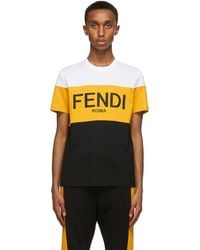 Fendi ホワイト & イエロー ロゴ T シャツ