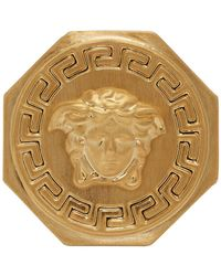 Versace - Gold Large Octagon Medusa Ring - Lyst