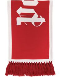 Palm Angels Red Knit Logo Scarf