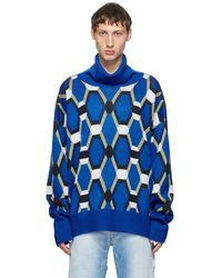 Random Identities ブルー ウール ジャカード セーター
