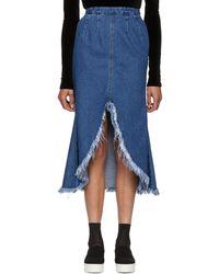 SJYP - Blue Front Cut-off Denim Skirt - Lyst