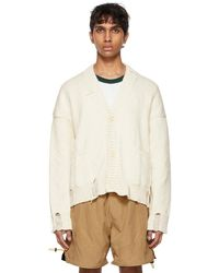 Rhude Ssense Exclusive White & Black Hand Knit Cardigan