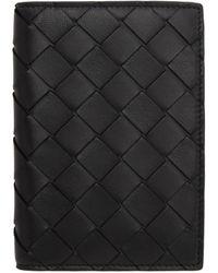 Bottega Veneta Black Intrecciato Bifold Passport Holder