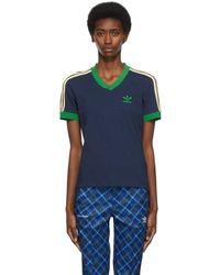 Wales Bonner Adidas エディション ネイビー Striped V ネック T シャツ - ブルー