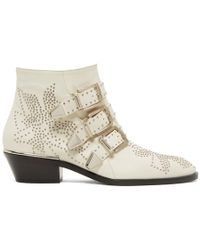 Chloé - White And Silver Susanna Boots - Lyst