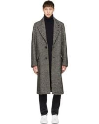 AMI - Black Houndstooth Two-button Coat - Lyst
