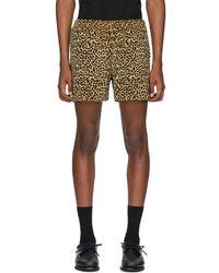 Noah Beige And Black Corduroy Leopard Shorts - Natural