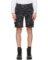 Belstaff Navy Camouflage Castmaster Shorts - Blue