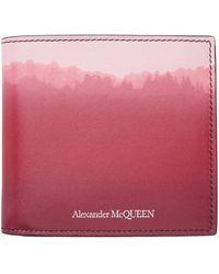 Alexander McQueen バーガンディ & ピンク 8cc バイフォールド ウォレット