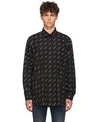 Balenciaga - ブラック & ホワイト オールオーバー ロゴ シャツ - Lyst