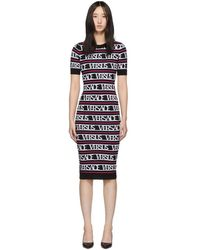 Versus - Black And Pink Knit Versace Dress - Lyst