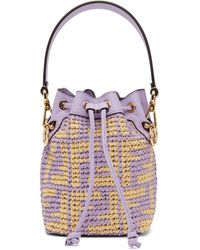 Fendi Purple Raffia Mini Forever Mon Tresor Bucket Bag