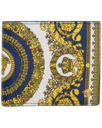 Versace White And Blue Heritage Bifold Wallet