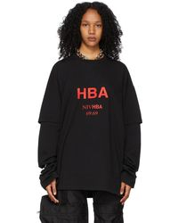 Hood By Air T-shirt à manches longues Short Over noir