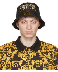 Versace Jeans Couture ブラック & ゴールド ロゴ バケット ハット