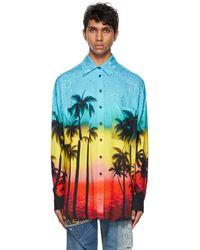 Faith Connexion Multicolour Viscose Printed Shirt - Blue