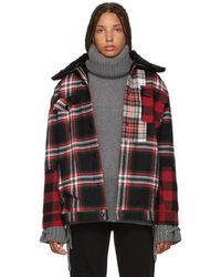 McQ - Red And Black Tartan Boxy Jacket - Lyst
