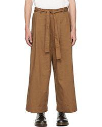 Naked & Famous Pantalon ample brun exclusif à SSENSE - Marron