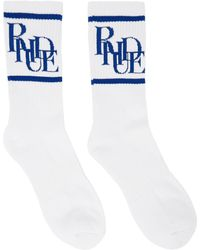 Rhude White & Blue Scramble Logo Sock