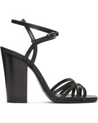 cd26795effc Lyst - Saint Laurent Jodie 105 Strappy Sandal In Black And ...