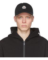 Moncler - ブラック ロゴ ベースボール キャップ - Lyst