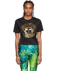 Versace - ブラック メタリック メドゥーサ T シャツ - Lyst