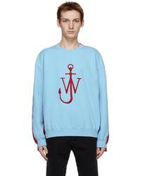 JW Anderson ブルー & レッド Contrast Paneled ロゴ スウェットシャツ